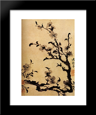 Flowery Branch: Modern Black Framed Art Print by Shitao