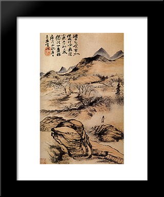Go By The Cold Paths: Modern Black Framed Art Print by Shitao