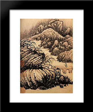 Hiking In The Area Of The Temple Of The Dragon: Modern Black Framed Art Print by Shitao