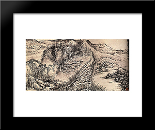 I Went Through All The Fabulous Mountains And I Fixed The Sketch: Modern Black Framed Art Print by Shitao