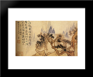 In Meditation, At The Foot Of The Mountains Impossible: Modern Black Framed Art Print by Shitao