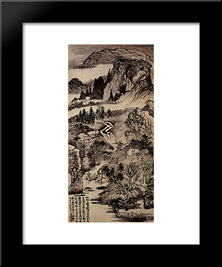 Jinting Mountains In Autumn: Modern Black Framed Art Print by Shitao
