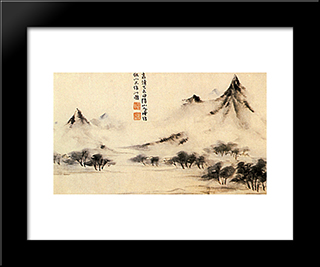 Mists On The Mountain: Modern Black Framed Art Print by Shitao