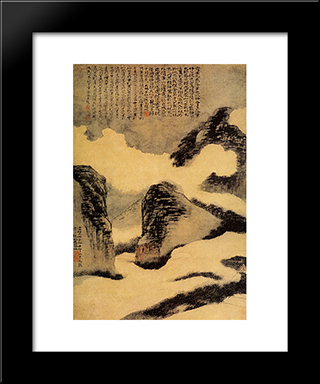 Mountains In The Mist: Modern Black Framed Art Print by Shitao