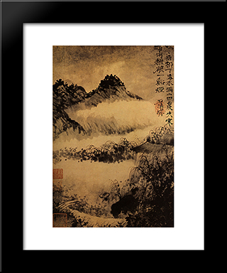 Not Far From Mount Huang, The Buffalo In The Rice Field: Modern Black Framed Art Print by Shitao