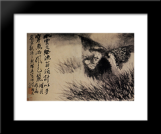 Old Water In The Grass: Modern Black Framed Art Print by Shitao