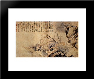 On The Lotus Pond: Modern Black Framed Art Print by Shitao