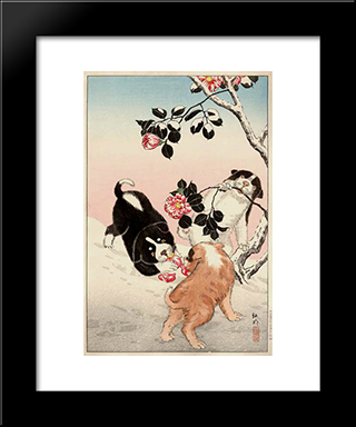 Camellia And Puppies In Snow: Custom Black Wood Framed Art Print by Shotei Takahashi