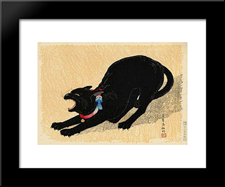 Cat With Bell: Custom Black Wood Framed Art Print by Shotei Takahashi