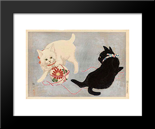 Cats With Ball: Custom Black Wood Framed Art Print by Shotei Takahashi