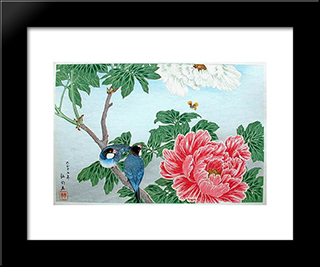 Peony And Paddy-Birds: Modern Black Framed Art Print by Shotei Takahashi