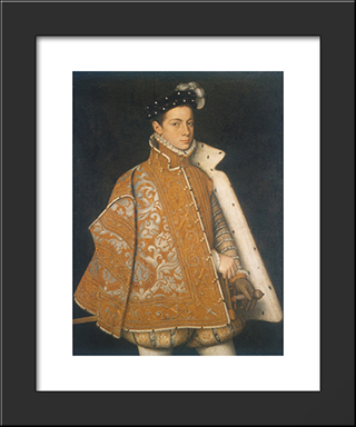 A Portrait Of A Young Alessandro Farnese, The Future Duke Of Parma: Modern Black Framed Art Print by Sofonisba Anguissola