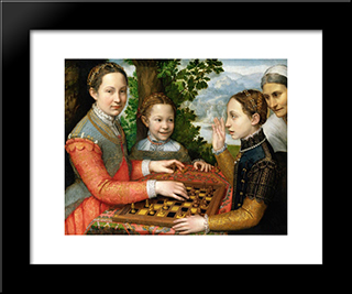 Lucia, Minerva And Europa Anguissola Playing Chess: Modern Black Framed Art Print by Sofonisba Anguissola