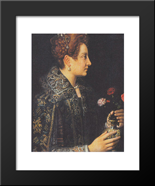 Portrait Of A Young Woman In Profile: Modern Black Framed Art Print by Sofonisba Anguissola