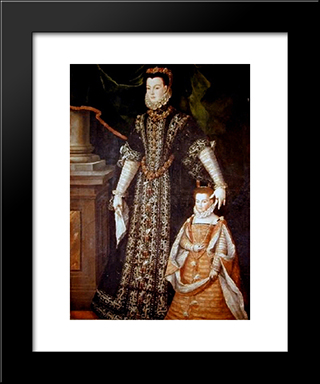Portrait Of Diane D'Andouins And Her Daughter: Modern Black Framed Art Print by Sofonisba Anguissola