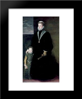 Portrait Of Juana Of Austria With A Young Girl: Modern Black Framed Art Print by Sofonisba Anguissola