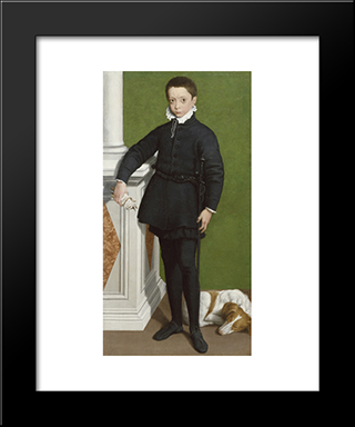 Portrait Of Massimiliano Stampa: Modern Black Framed Art Print by Sofonisba Anguissola