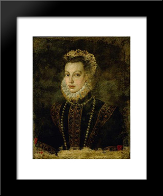 Portrait Of Queen Elisabeth Of Spain: Modern Black Framed Art Print by Sofonisba Anguissola