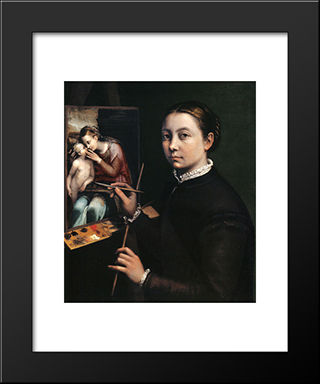 Self-Portrait At The Easel: Modern Black Framed Art Print by Sofonisba Anguissola