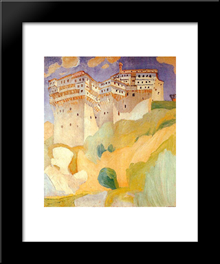 Abbey Dionysiou: Modern Black Framed Art Print by Spyros Papaloukas