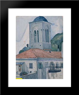 The Bell - Tower: Modern Black Framed Art Print by Spyros Papaloukas