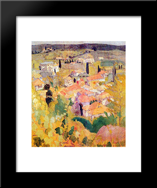 View From Karyes Of Mount Athos: Modern Black Framed Art Print by Spyros Papaloukas