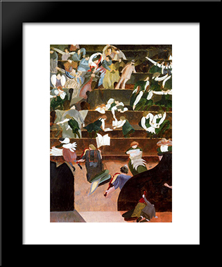 A Music Lesson At Bedales: Modern Black Framed Art Print by Stanley Spencer
