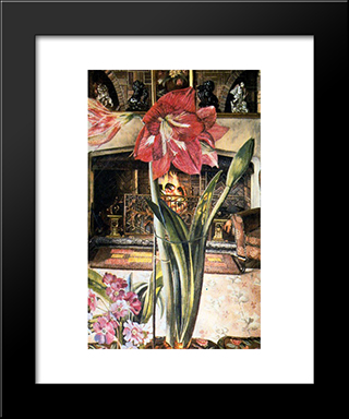 Amaryllis In Chauntry Court: Modern Black Framed Art Print by Stanley Spencer