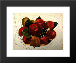 Apples And Pears On A Chair: Modern Black Framed Art Print by Stanley Spencer