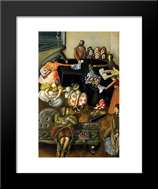 At The Piano: Modern Black Framed Art Print by Stanley Spencer