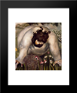 Christ In The Wilderness - Consider The Lilies: Modern Black Framed Art Print by Stanley Spencer