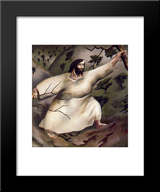 Christ In The Wilderness - Driven By The Spirit: Modern Black Framed Art Print by Stanley Spencer