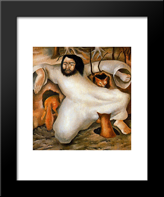 Christ In The Wilderness - The Foxes Have Holes: Modern Black Framed Art Print by Stanley Spencer