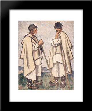 Peasant Counsel: Modern Black Framed Art Print by Stefan Dimitrescu