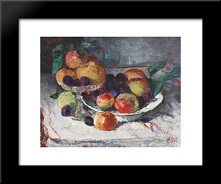 Still Life With Ripe Fruits: Modern Black Framed Art Print by Stefan Dimitrescu