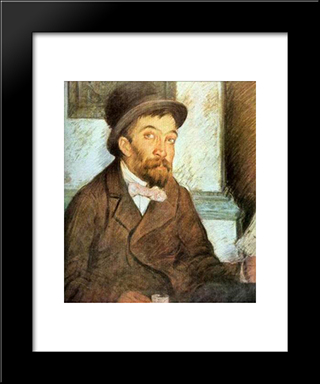 Alecu The Literate Man: Modern Black Framed Art Print by Stefan Luchian