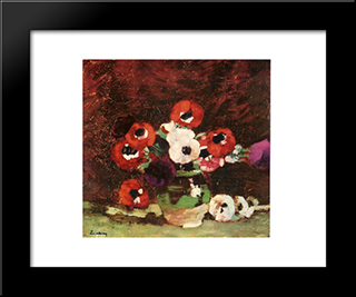 Anemone Flowers: Modern Black Framed Art Print by Stefan Luchian