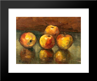 Apples: Modern Black Framed Art Print by Stefan Luchian