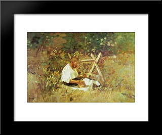 At Nami (Wood Cutter): Modern Black Framed Art Print by Stefan Luchian