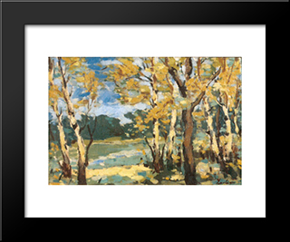 Autumn Woods: Modern Black Framed Art Print by Stefan Luchian