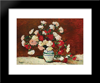 Carnations: Modern Black Framed Art Print by Stefan Luchian