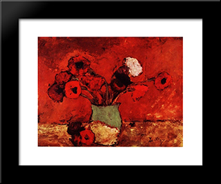 Carnations And Poppies: Modern Black Framed Art Print by Stefan Luchian