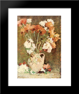 Chrysanthemums: Modern Black Framed Art Print by Stefan Luchian