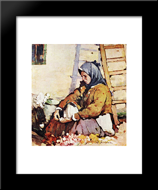 Flower Seller: Modern Black Framed Art Print by Stefan Luchian