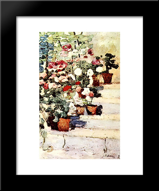 Flowers On Stairs: Modern Black Framed Art Print by Stefan Luchian