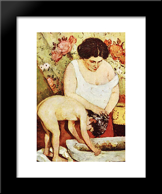 Hair Washing: Modern Black Framed Art Print by Stefan Luchian