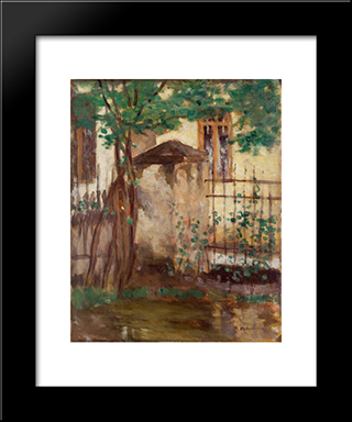 House With Fence: Modern Black Framed Art Print by Stefan Luchian