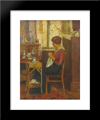 In Atelier: Modern Black Framed Art Print by Stefan Luchian