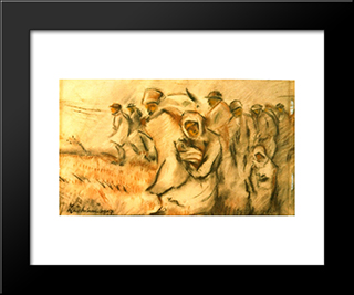 Insurgent Peasants: Modern Black Framed Art Print by Stefan Luchian