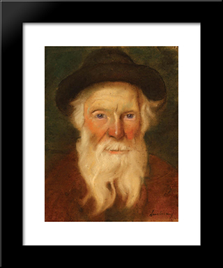 Jewish Man: Modern Black Framed Art Print by Stefan Luchian